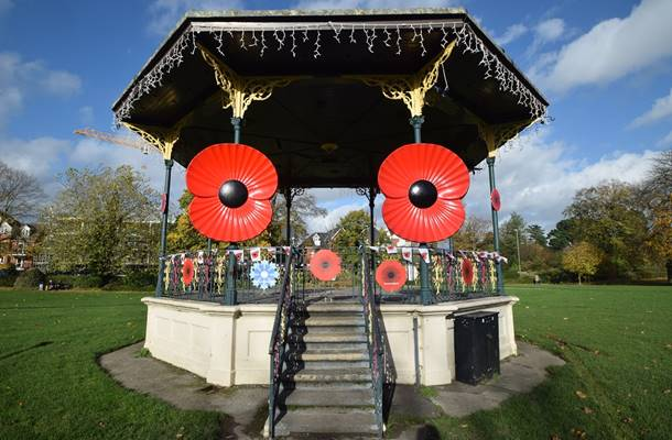 Poppies Turns Bandstand Red